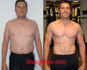 Dan before & after men's weight loss training program at Shape Plus