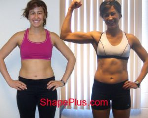 Ericka before and after women's strength training program at Shape Plus