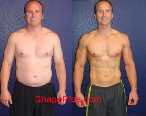 Jeremy before and after men's strength training program at Shape Plus