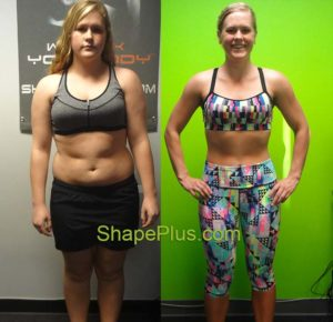 Alyse before & after women's weight loss training program at Shape Plus